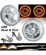 """7"""" Amber LED Halo Angel Eye 12V Headlight Headlamp w/ 6k LED H4 Light Bu... - $139.95"""