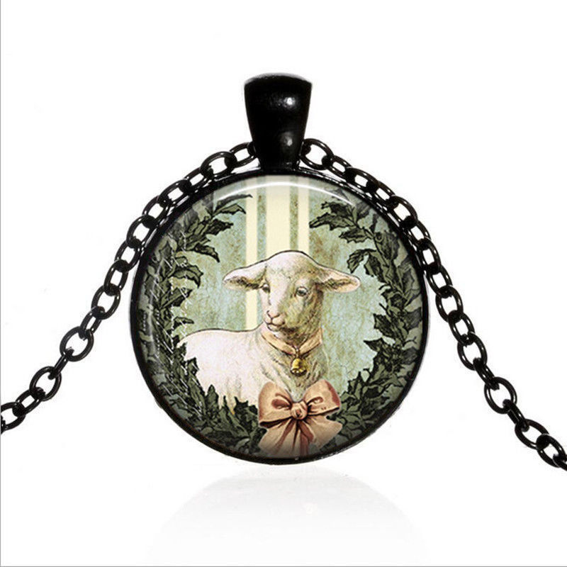 PEACEFUL LAMB WREATH CABOCHON NECKLACE   >> COMBIN SHIPPING <<   (73 - $4.21