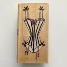 All Night Media Striped Lingerie Rubber Stamp Corset Garter Ruffle Trim Wood Mtd - $2.97