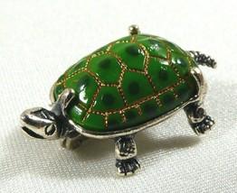 Vintage Beau Sterling Silver Pin Brooch Mini Turtle Tortoise Green Enamel - $34.65