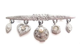 Victorian Revival Pewter Rhinestone Charm Dangle Vintage Bar Pin Brooch ... - $17.82