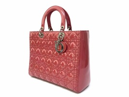 Authentic Christian Dior Lady Dior Large Red Patent Shoulder Tote Bag GHW image 3