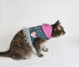 Cat harness - Denim vest with hood for walking - $29.00