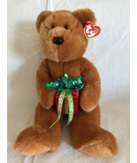 "TY Beanie Buddy Original Brown Bear w/Happy Holidays Package 14"" Tall SO... - $12.66"