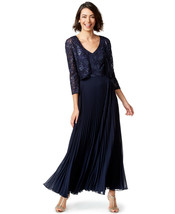 Tahari Asl Womens Sz 14 V-neck Sequin Jacket And Gown Navy 2275-3 - $54.44