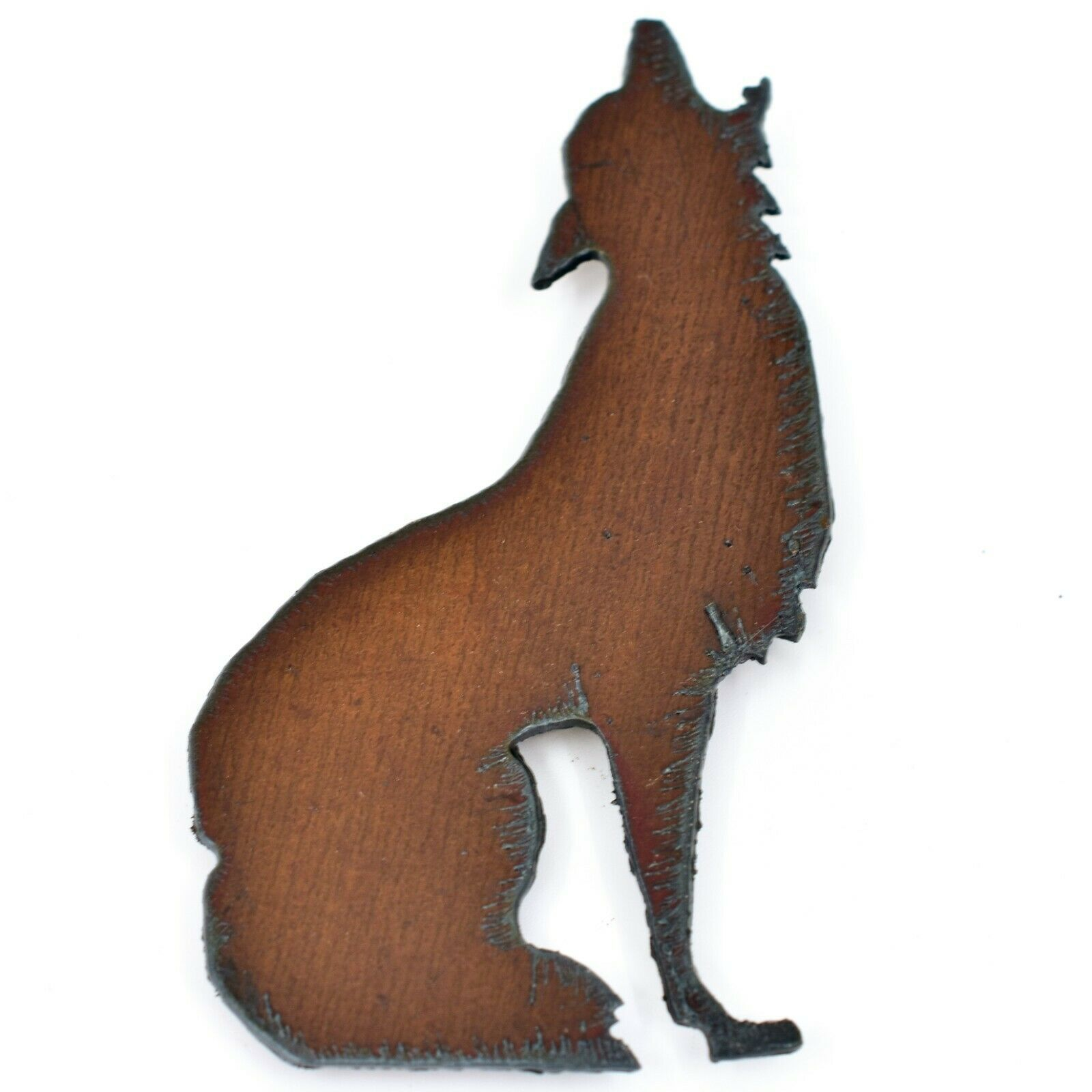 Rustic Rusted Patina Iron Metal Cutout Howling Wolf Coyote Refrigerator Magnet
