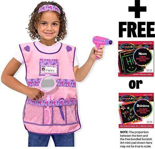Hair Stylist: Role Play Costume + Melissa & Doug Scratch Art Mini-Pad Bundle [48 - $29.45