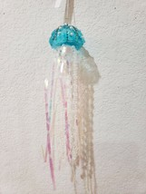 NEW JELLYFISH COASTAL BEACH AQUA BLUE SEA CHRISTMAS GLASS ORNAMENT DECOR - $17.09