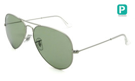 New Ray Ban Aviator RB3025 019/05 58mm Matte Silver w/ Green Polarized - $214.59