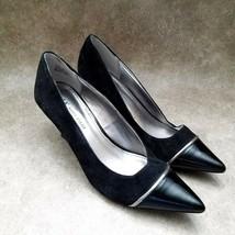 Anne Klein Womens Henrietta Size 6.5 Black Leather Slip On Pointed Toe Heels - $21.99