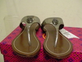 Women tory burch slippers pewter silver size 6 us - $148.45