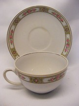 2 Rare Vintage Alfred Meakin Pink Roses Blue Tan Cup & Saucer Sets - $12.95