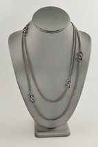 VINTAGE Jewelry MOD RETRO SILVER METAL MULTI CHAIN LAYERING NECKLACE - $10.00