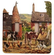 Farm with animals Double Toggle Metal Switch Plate - $10.50
