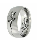 Stainless Steel Comfort Fit Tribal Gecko Lizard Cut-Out Wedding Band Rin... - $8.79