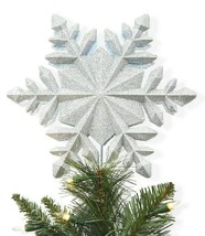 Wondershop 10'' Snowflake Projection Easy Clip Tree Topper Sparkly Silver NEW image 1