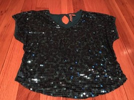 Eyeshadow Sequin Blouse Turqouise size Medium - $10.39