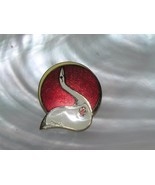 Vintage Red & White Enamel MODERNIST Swan & Moon Goldtone Pin Brooch – s... - $10.39