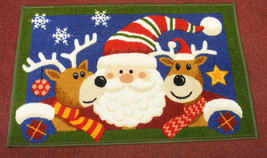 ST. NICHOLAS SQUARE SANTA & REINDEERS ACCENT RUG DOORMAT CHRISTMAS DECOR... - $15.88
