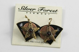 ESTATE VINTAGE Jewelry NOS ON CARD SILVER FOREST VT STAR MIXED METAL EAR... - $10.00