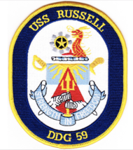 "5"" NAVY USS DDG-59 OSCAR RUSSELL EMBROIDERED PATCH - $23.74"