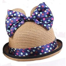 Summer Fashion Sun Hat For Kids With Bowknot Decor&Wave Point Pattern Coffee