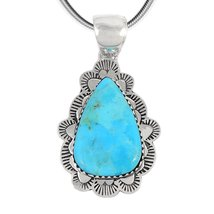 "Turquoise Pendant Necklace Sterling Silver 925 Genuine Turquoise (20"" Le... - $1.337,65 MXN"