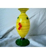 Art Glass Hand Blown Vase Yellow Green Swirl Arthropomorphic Artist Signed - $118.70