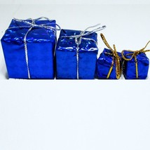 4 x Blue Foil Wrapped Christmas Gift #7 Present Dollhouse Miniatures by Beth - $3.24