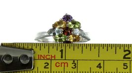 Ladies Size 9 Sterling Silver Multi Color Gemstone Cluster Fashion Ring No. 2134 image 7