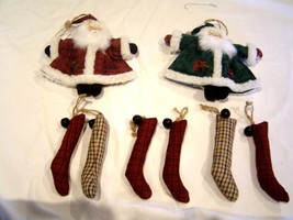 Rustic Country Santas and Hanging Stuffed Stockings Christmas Ornaments ... - $18.99