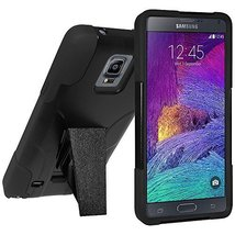 Amzer Double Layer Hybrid Case with Kickstand - Black for Samsung GALAXY Note 4 - $9.85