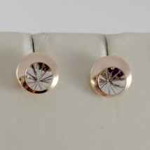 18K WHITE PINK GOLD ROUND EARRINGS FINELY WORKED, DOUBLE RAYS STAR MADE IN ITALY image 2