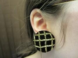 Vintage Black Velvet Silver Beaded Clip-On Earrings - $14.50