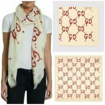 GUCCI Ghost Stole Scarf Shawl Modal Silk Women Luxury GG Logo Auth New R... - $627.48