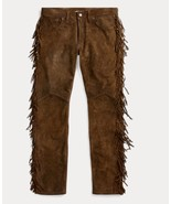 Men's New Native American Buckskin Brown Suede Leather Fringes Hippie Pa... - $88.21+