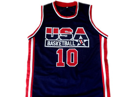 Reggie Miller #10 Team USA Men Basketball Jersey Navy Blue Any Size image 4