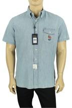 New New Ralph Lauren Short Sleeve Pocket Usa Flag Indigo Chambray Cotton Shirt L - $39.99