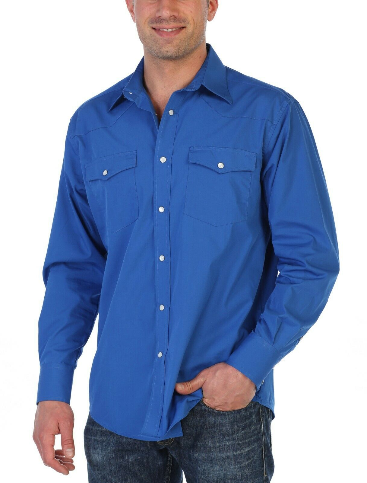 Gioberti Men's Solid Long Sleeve Pearl Snap Button Royal Blue Western Shirt - S