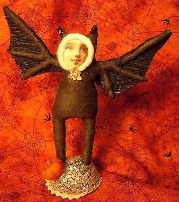 Vintage Inspired Spun Cotton Halloween Bat Girl  Black