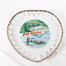 Sun Valley Idaho Heart Shaped Souvenir Plate Vintage - $15.00