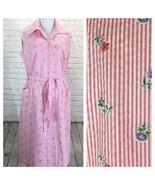 VTG Glamax Seersucker House Dress Womans 18.5 Pink Striped Front Zip Sle... - $58.00