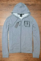 Armani Exchange A X Men's Full Zip Light Gray Cotton Hooded Jacket Hoodie S - $74.69