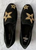Michael Kors Schwarz Leder Oben Gummi Außensohle Stickerei Schuhe Größe 7 - $57.74