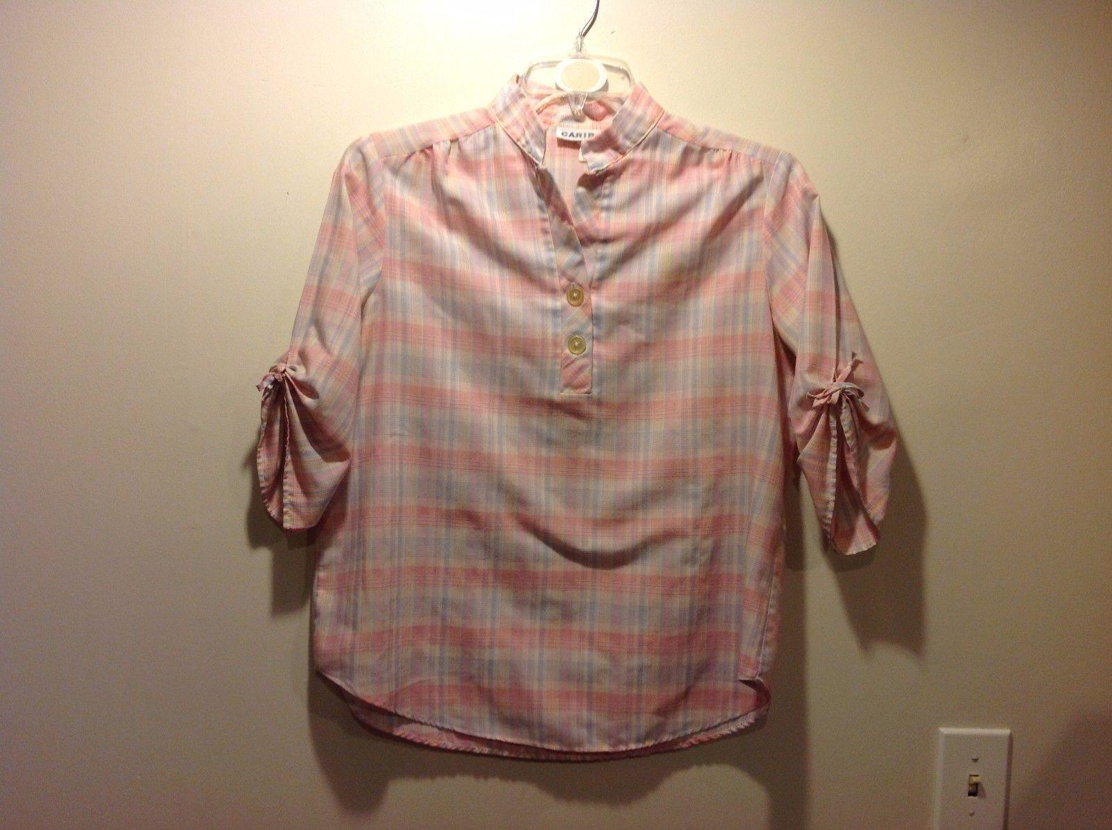 Ladies Caribou Plaid Pink Pastel Colored Pullover PJ Top Sz 16