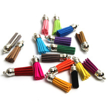 10pcs/lot Silver Color Cap 38mm(1.49in) Leather Tassel for Keychain DIY ... - $29.90
