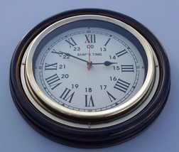 Wooden & Brass Ship's Time Vintage Office Home Decorative Wall Clock Wor... - $74.25