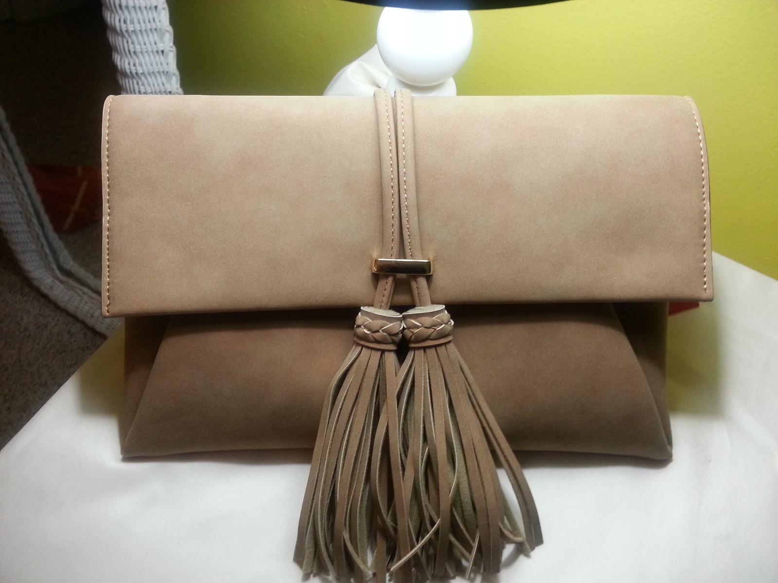Faux Suede Tassel Clutch Bag, Ladies Purse - Camel Brown, Golden Hardware