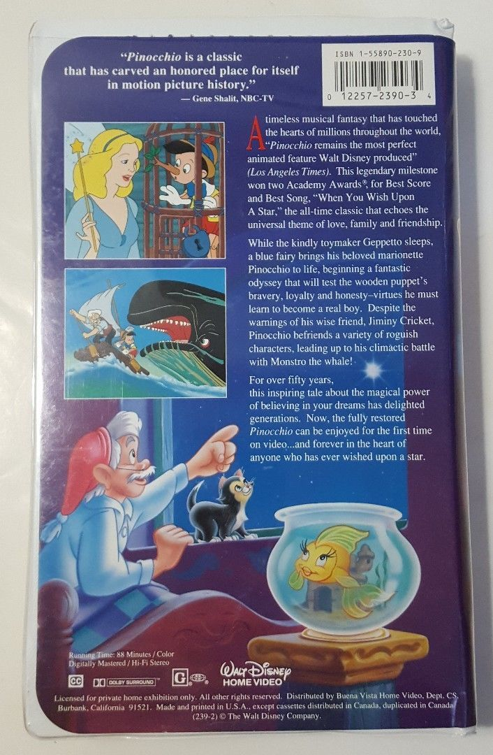 Walt Disney's Masterpiece Pinocchio (VHS, 1993) - Records ...