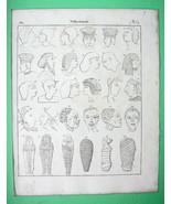 AFRICA Natives Ethiopia Egyptian Mummy Sarcophagi - 1825 Antique Print - $16.20